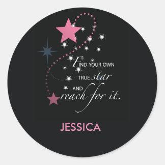 Graduation Star, Pink on Black Classic Round Sticker