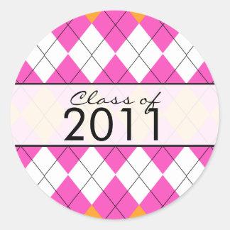 Graduation Sticker Pink & Orange Argyle