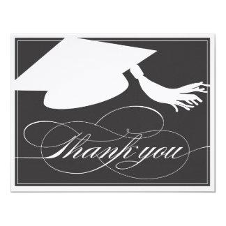 Graduation Thank You Flat Note Card | Black 11 Cm X 14 Cm Invitation Card