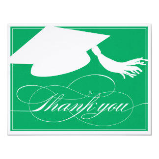 "Graduation Thank You Flat Note Card | Green 4.25"" X 5.5"" Invitation Card"