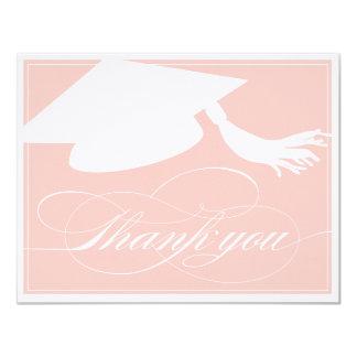 Graduation Thank You Flat Note Card | Pink 11 Cm X 14 Cm Invitation Card