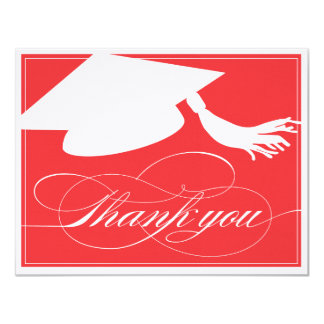 Graduation Thank You Flat Note Card | Red 11 Cm X 14 Cm Invitation Card