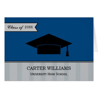 Graduation Thank You Note Cards | Navy Blue Gray