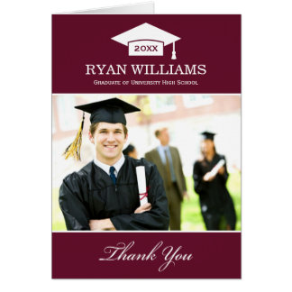 Graduation Thank You Photo Cards | Dark Maroon Red