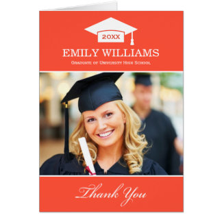 Graduation Thank You Photo Cards | Red Orange