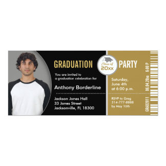 Graduation Ticket Party Invitation TKT313 Gold