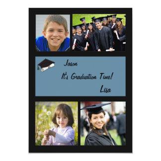 Graduation Time - 4 Photo Graduation  Invitation