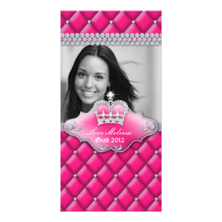 Graduation Tufted Satin Crown Sweet 16 Pink 2 Photo Greeting Card