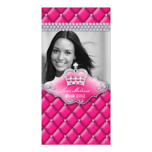 Graduation Tufted Satin Crown Sweet 16 Pink 2 Personalized Photo Card