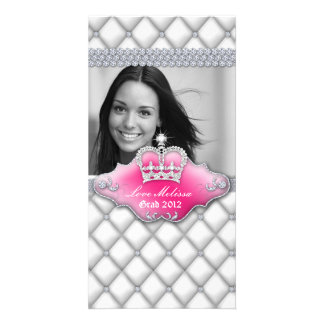Graduation Tufted Satin Crown Sweet 16 White Personalized Photo Card