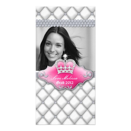 Graduation Tufted Satin Crown Sweet 16 White Photo Card Template