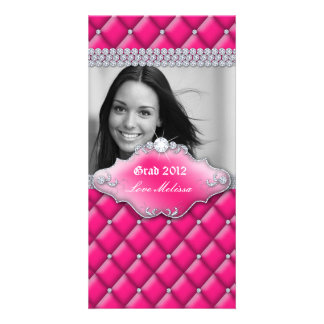 Graduation Tufted Satin Jewelry Sweet 16 Pink 2 Picture Card