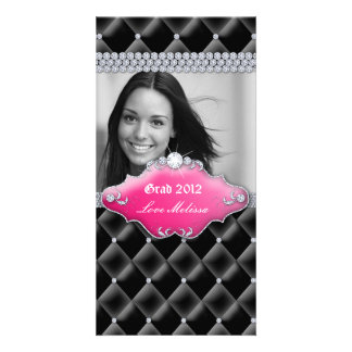 Graduation Tufted Satin Jewelry Sweet 16 Pink Photo Greeting Card