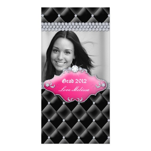 Graduation Tufted Satin Jewelry Sweet 16 Pink Photo Greeting Card
