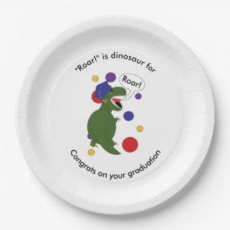 Graduation Tyrannosaurus Rex Personalize Paper Plate