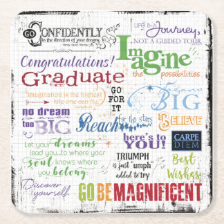 Graduation Word Art Square Paper Coaster