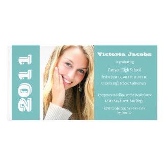 Graduation Year Invitation-sea green Picture Card