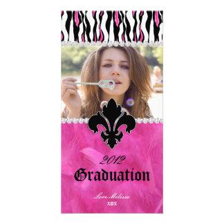 Graduation Zebra Fleur de lis Jewelry Sweet 16 Card