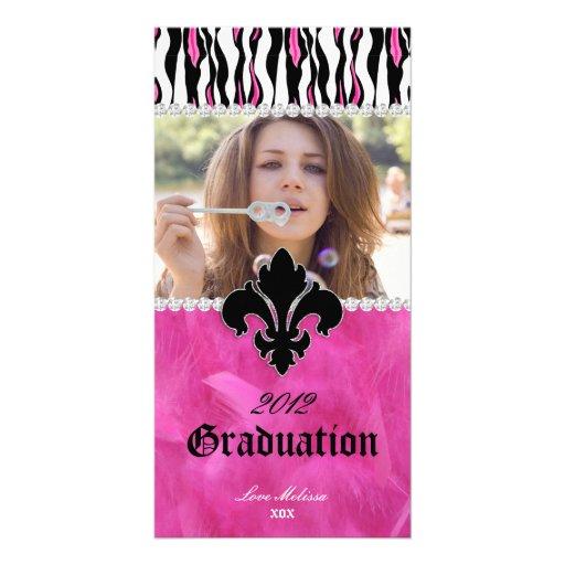 Graduation Zebra Fleur de lis Jewelry Sweet 16 Custom Photo Card