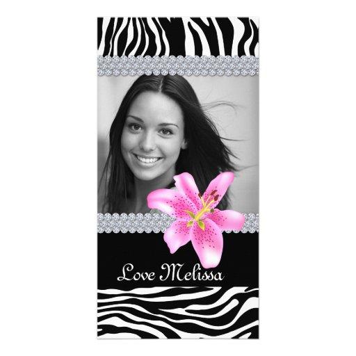 Graduation Zebra Photo Lily Flower Sweet 16 Photo Card Template