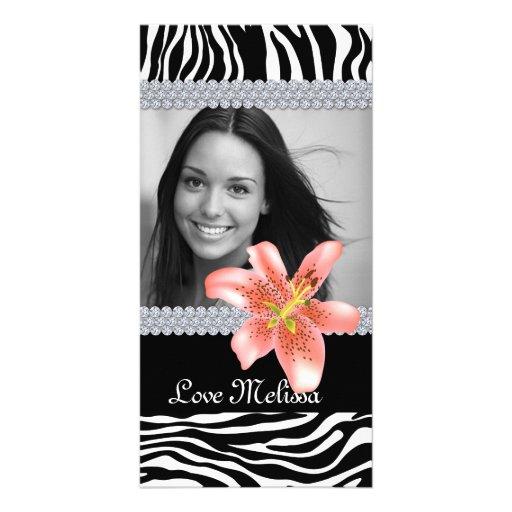 Graduation Zebra Photo Lily Flower Sweet 16 Photo Card
