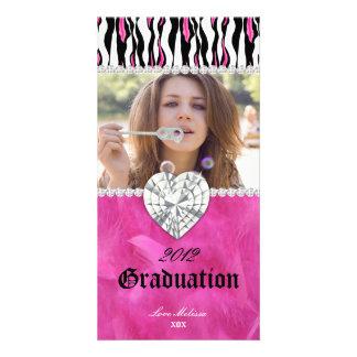 Graduation Zebra Tiger Diamond Jewel Sweet 16 Customised Photo Card