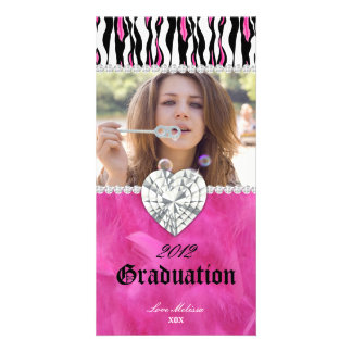 Graduation Zebra Tiger Diamond Jewel Sweet 16 Photo Card