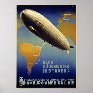 Graf Zeppelin Vintage Poster Restored