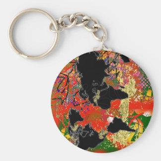 Graffited World Map Basic Round Button Key Ring