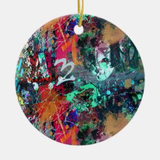 Graffiti and Paint Splatter Ceramic Ornament