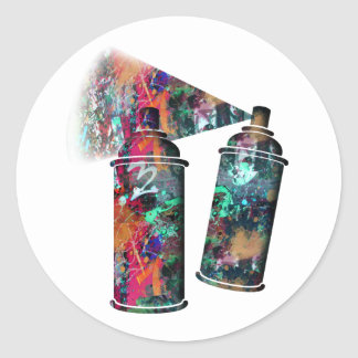 Graffiti and Paint Splatter Spray Cans Classic Round Sticker