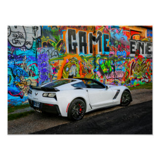 graffiti and the Z06 Corvette Poster