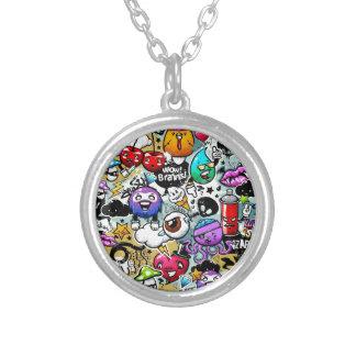 Graffiti Art Silver Plated Necklace