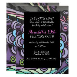 Graffiti Blue Flower Birthday Invitation