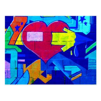 GRAFFITI COLORFUL LOVE HEARTS  GANGSTER BACKGROUND POSTCARD