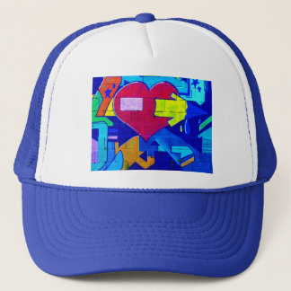 GRAFFITI COLORFUL LOVE HEARTS  GANGSTER BACKGROUND TRUCKER HAT