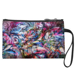 Graffiti design wristlet purse