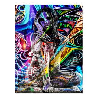 Graffiti girl postcard