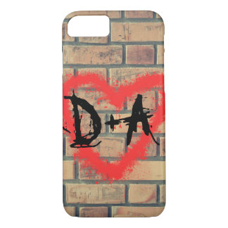 Graffiti heart Brick Wall Initials Design Case