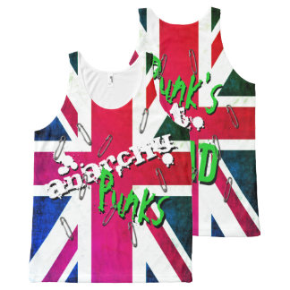 Graffiti inspired Punk's Not Dead Union Jack All-Over Print Singlet