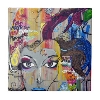 graffiti lady ceramic tile