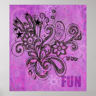 Graffiti Large Block Fun in Purple Poster