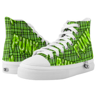 Graffiti lime green snotty punk tartan sneakers