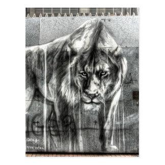 Graffiti Lion, Shoreditch London Postcard