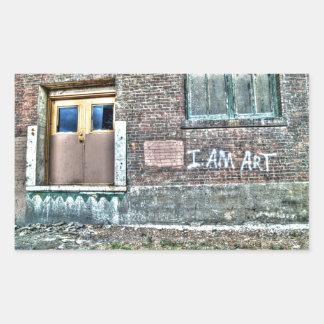 Graffiti on a wall I am art Rectangle Sticker