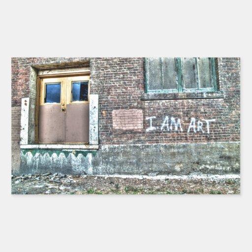 """Graffiti on a wall """"I am art"""" Rectangle Sticker"""