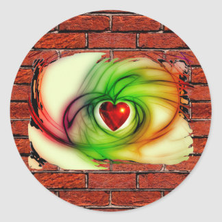 GRAFFITI ON THE WALL: THE ARTIST'S HEART ~ ROUND STICKER