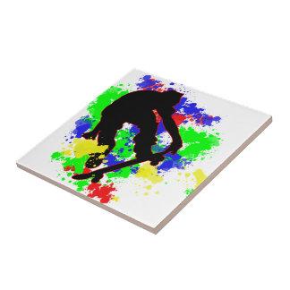 Graffiti Paint Splotches Skateboard Ceramic Tiles
