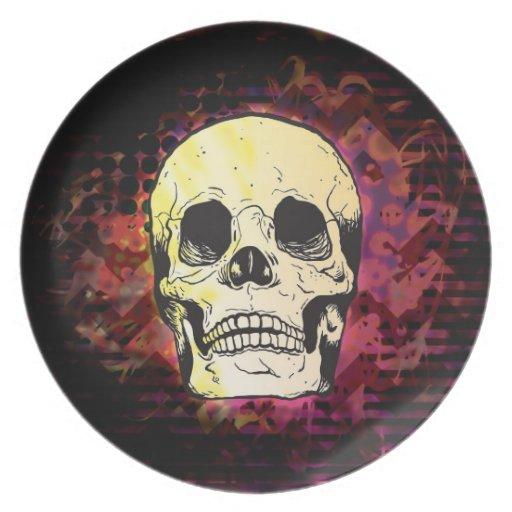 graffiti pop-art skull party plate