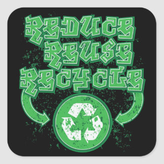 Graffiti Reduce Reuse Recycle Square Sticker